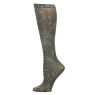 "Womens 18"" Trouser Sock-Black Stained Glass"