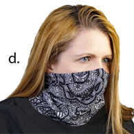 Face Mask Buff Face Covering-Black Paisley Fountain