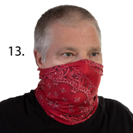 Face Mask Buff Face Covering-Red Bandanna
