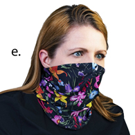 Face Mask Buff Face Covering-Black Floral