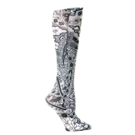 Womens Compression Sock-Black Paisley Fountain