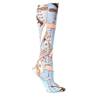 Womens Compression Sock-Turquoise Saddle Up