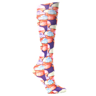 Womens Compression Sock-Purple Cupcakes