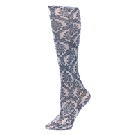Womens Compression Sock-Victorian Damask on Grey