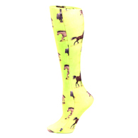 Womens Compression Sock-Lime Horses