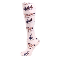 Womens Compression Sock-Beige Horses