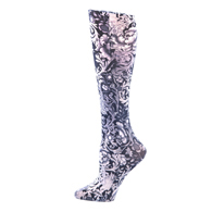 Womens Compression Sock-Black White Vines & Roses
