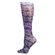 Womens Compression Sock-Navy Lace
