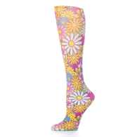 Womens Compression Sock-Colorful Daisies