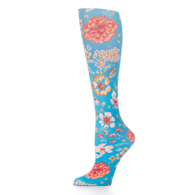 Womens Compression Sock-Prairie Flowers Blue