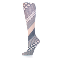 Womens Compression Sock-Diagonal Dots Black