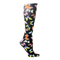 Womens Compression Sock-Black Butterflies