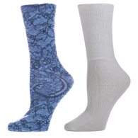 Diabetic Crew Sock Set-One Size-Midnight Lace & White