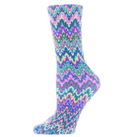 Womens Diabetic Crew Socks-One Size-Blue Fleur Missoni
