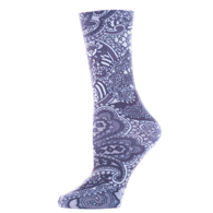Diabetic Crew Socks-One Size-Black Paisley Fountain