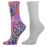 Diabetic Crew Sock Set-One Size-Multi Gogo & White