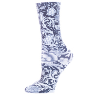 Diabetic Crew Socks-One Size-Black White Vines & Roses