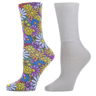Diabetic Crew Sock Set-One Size-Colorful Daisies & White