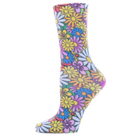 Womens Diabetic Crew Socks-One Size-Colorful Daisies