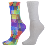 Diabetic Crew Sock Set-One Size-Watercolor Tiles & White