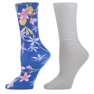 Diabetic Crew Sock Set-One Size-Navy Paradise & White