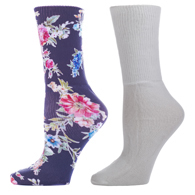 Diabetic Crew Sock Set-One Size-Renee Garden & White
