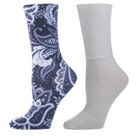Diabetic Crew Sock Set-One Size-Black Calypso & White