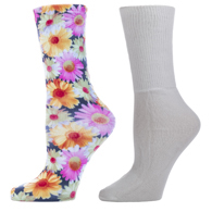 Womens Diabetic Crew Sock Set-One Size-Daisies & White