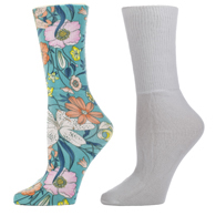Womens Diabetic Crew Sock Set-One Size-Lilies and White