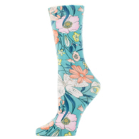 Diabetic Crew Socks-One Size-Turquoise Lillies
