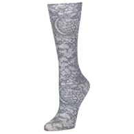 Womens Diabetic Crew Socks-One Size-Grey Morning Lace