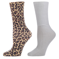 Diabetic Crew Sock Set-One Size-Hairy Leopard & White