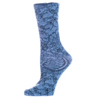 Womens Diabetic Crew Socks-One Size-Midnight Lace