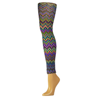 Womens Leggings-Blue Fleur Missoni