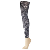 Womens Leggings-Black Paisley Fountain