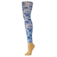 Womens Leggings-Navy Paris