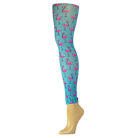 Womens Leggings-Flamingos and Pearls
