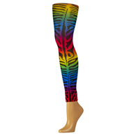 Womens Leggings-Rainbow Zebra