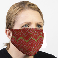Ear Loop Mask Chevron Red Christmas Paper