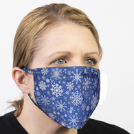 Ear Loop Mask Blue Winter Snowflakes