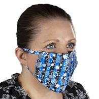 Ear Loop Mask Blue Black Stripe Hanukkah