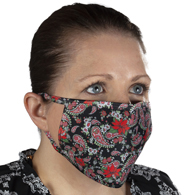 Ear Loop Mask Red Black Paisley Poinsettia