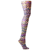 Womens Tights-Blue Fleur Missoni
