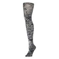 Womens Tights-Black White Vines & Roses