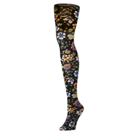 Womens Tights-Prairie Flowers Black